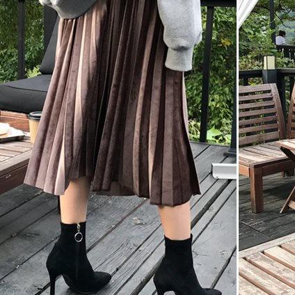 ストレッチベロアプリーツスカート